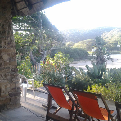 Looking down the Bulolo River from The Lodge On The Beach