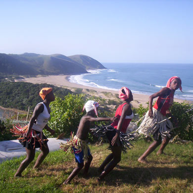 African Culture - young girls performing a dance on the clifftops around Port St Johns